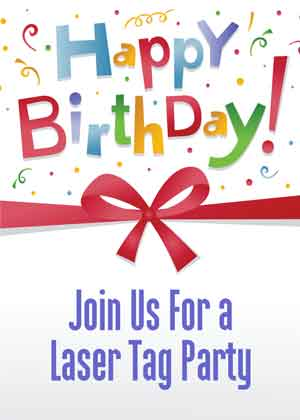 Laser tag birthday party invitation boy fort worth