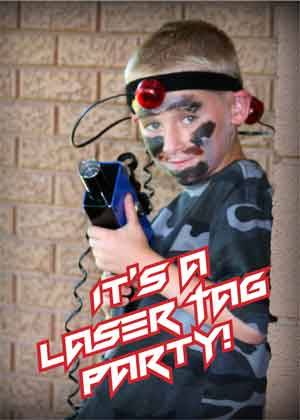 Laser tag birthday party invitation boy dallas